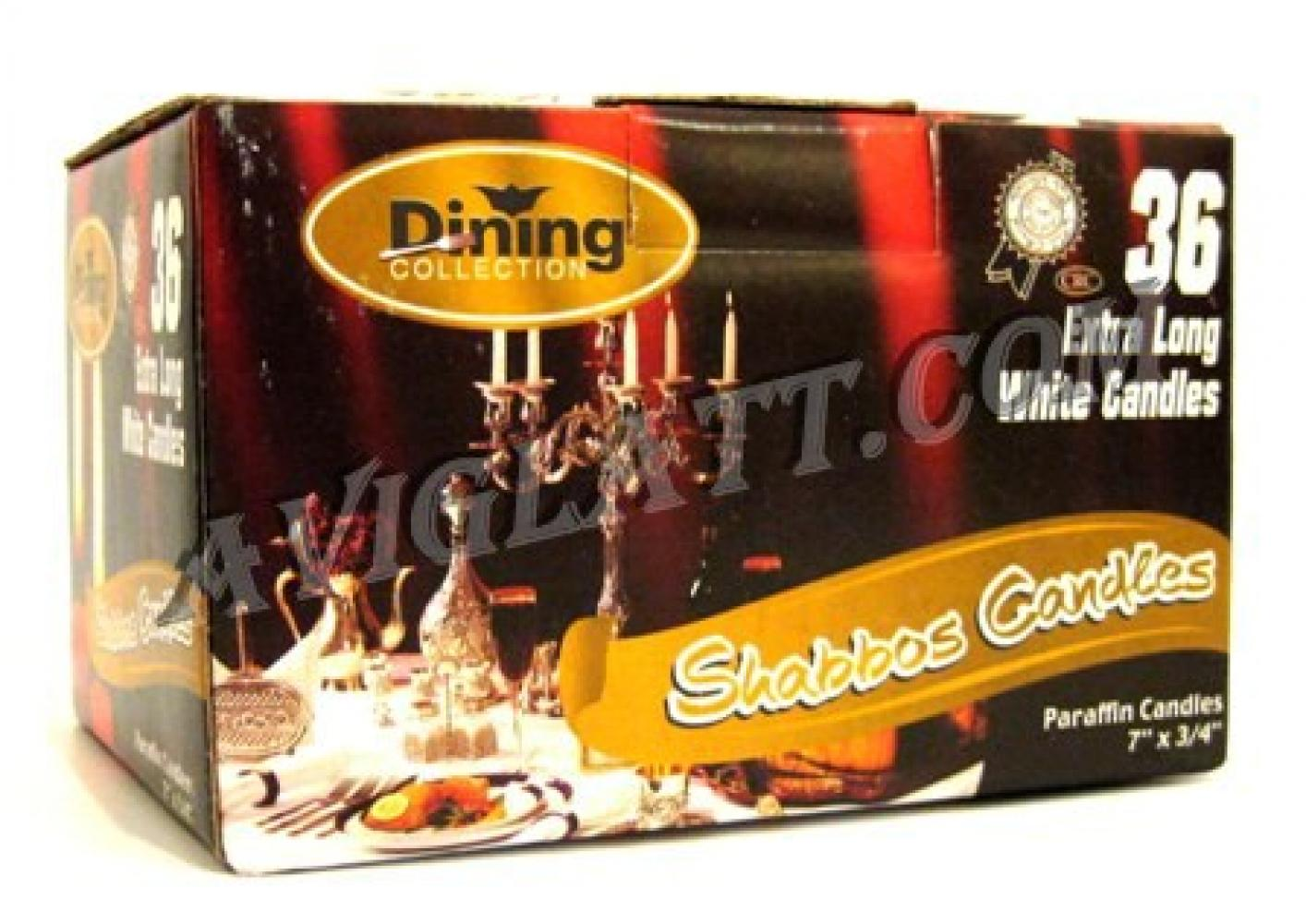Dining Collection 36 Extra Long White Shabbos Candles