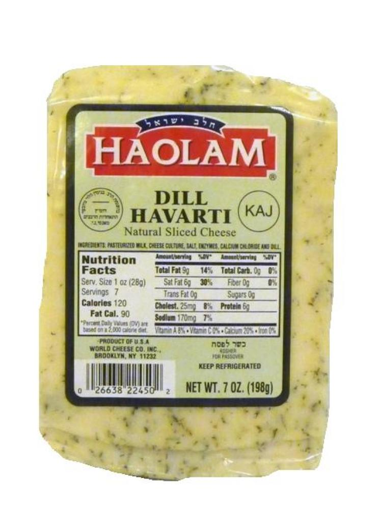 Haolam Dill Havarti Natural Sliced Cheese 7 oz