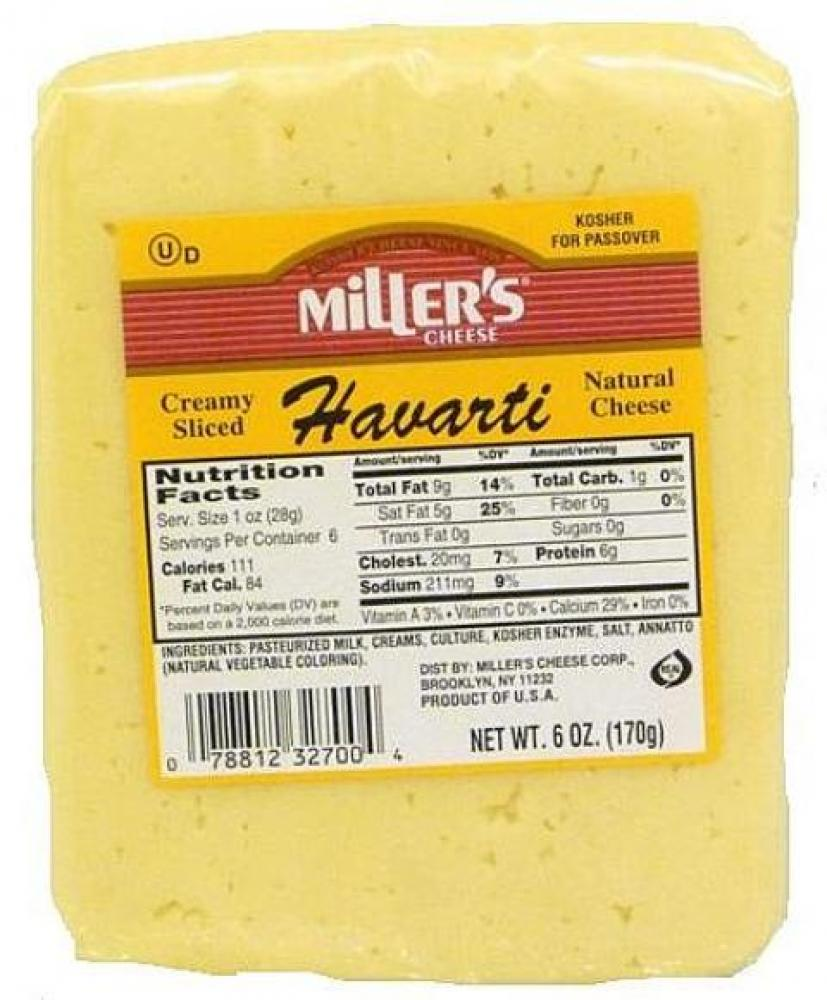 Miller's Creamy Sliced Havarti Natural Cheese 6 oz