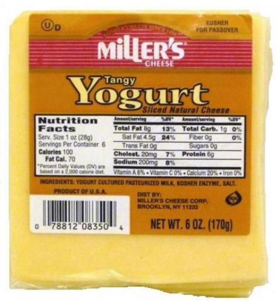 Miller's Tangy Yogurt Sliced Natural Cheese 6 oz
