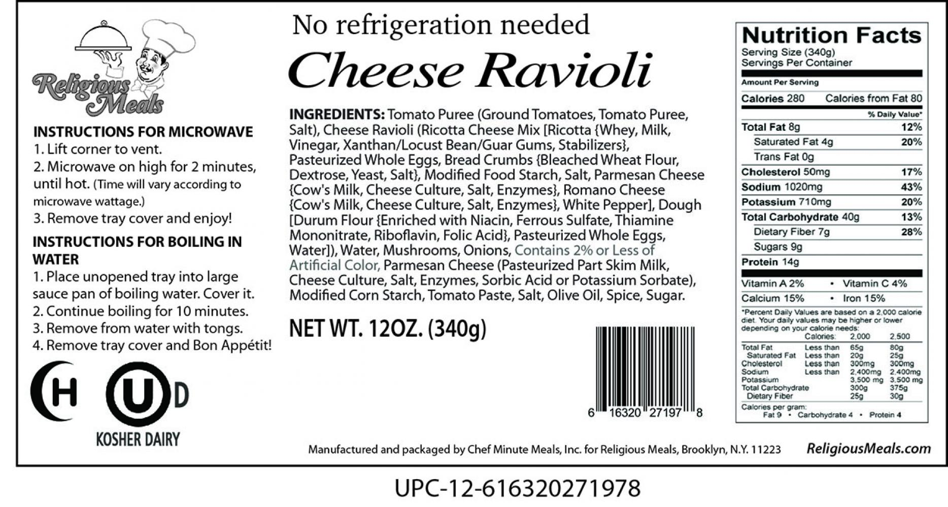 Religious Meals Shelf Stable Meals Cheese Ravioli 12 oz