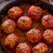 Chicken Meatballs In Tomato Sauce with one Free Side Dish