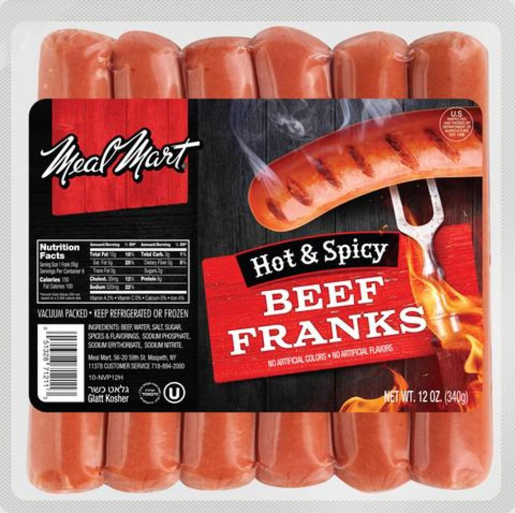 Meal Mart Hot & Spicy Beef Franks 12 oz